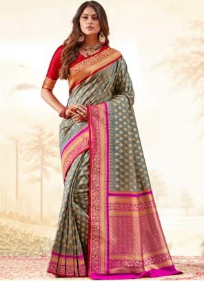 Grey Silk Weaving Classic Saree