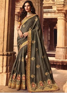 Grey Silk Wedding Classic Designer Saree