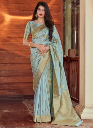 Grey Silk Woven Designer Traditional Saree