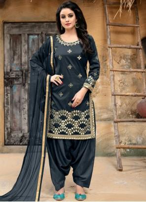 Grey Tafeta Silk Punjabi Suit