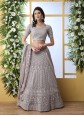 Grey Thread Georgette A Line Lehenga Choli