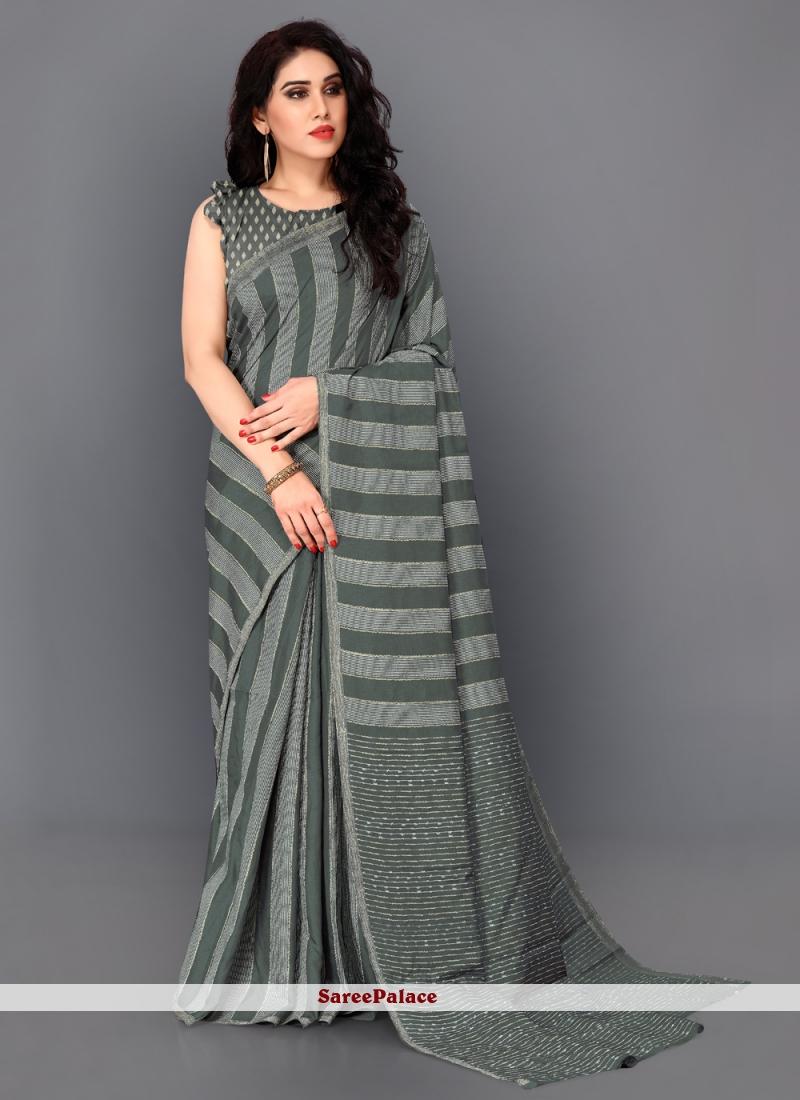 Grey Thread Work Manipuri Silk Trendy Saree