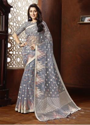 Grey Tissue Designer Saree