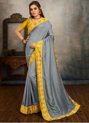 Grey Embroidered Vichitra Silk Traditional Saree