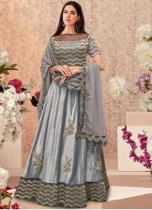 Grey Velvet Embroidered Designer A Line Lehenga Choli