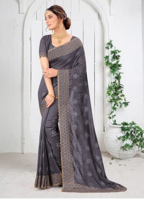 Grey Vichitra Silk Embroidered Saree
