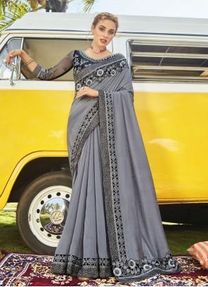Grey Vichitra Silk Festival Designer Traditional Saree