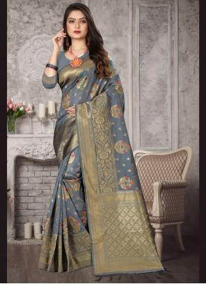 Grey Weaving Banarasi Silk Designer Saree