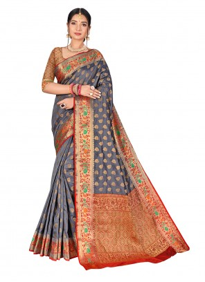 Grey Weaving Banarasi Silk Traditional Designer Saree