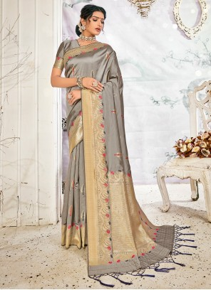 Grey Weaving Banarasi Silk Traditional Saree