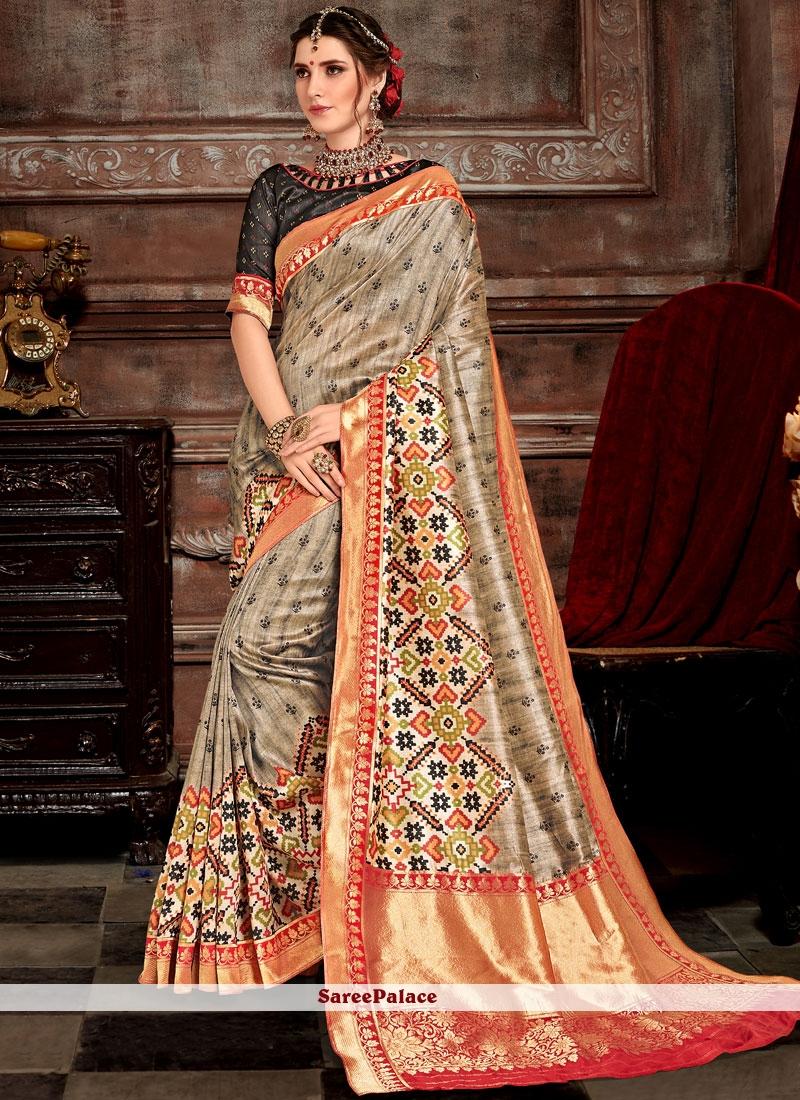 Grey Weaving Bhagalpuri Silk Designer Saree