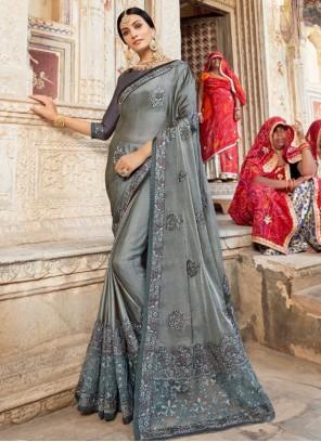 Grey Weaving Bollywood Saree