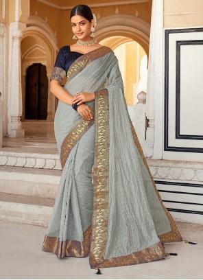 Grey Weaving Cotton Casual Saree