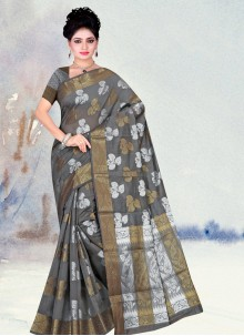 Grey Weaving Ceremonial Classic Designer Saree