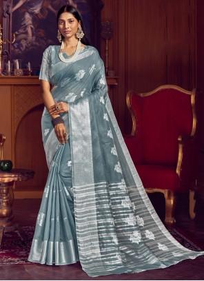 Grey Weaving Contemporary Saree