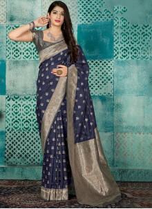 Grey Weaving Festival Traditional Designer Saree