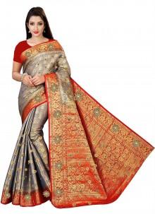 Grey Weaving Kanjivaram Silk Traditional Saree