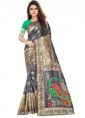 Grey Weaving Mehndi Classic Designer Saree