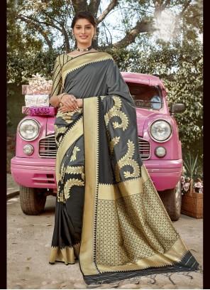 Grey Weaving Sangeet Designer Traditional Saree