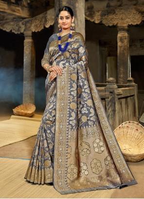 Grey Weaving Silk Saree