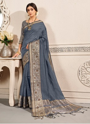 Grey Weaving Traditional Saree