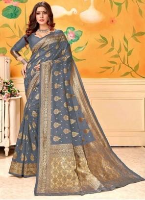 Grey Weaving Art Silk Trendy Saree