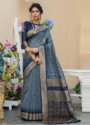 Grey Weaving Tussar Silk Designer Saree