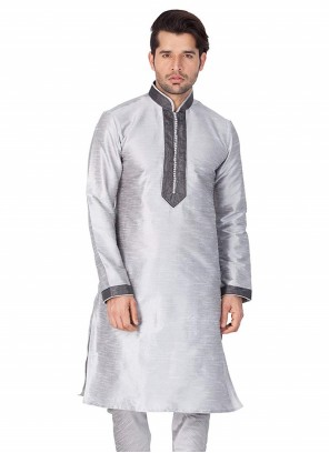 Grey Wedding Art Dupion Silk Kurta