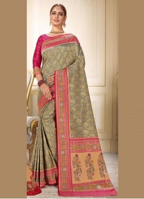 Grey Wedding Brocade Trendy Saree