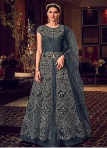 Grey Wedding Long Length Anarkali Salwar Suit