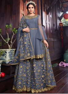 Grey Wedding Net Designer Pakistani Suit