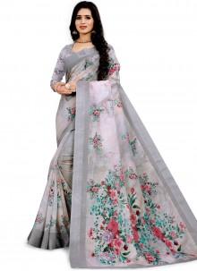 Grey Wedding Printed Saree