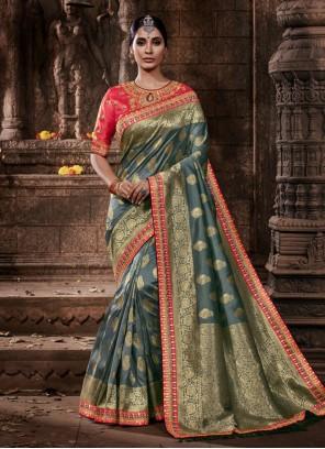 Grey Wedding Silk Classic Saree