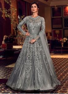 Grey Wedding Trendy Long Length Anarkali Suit