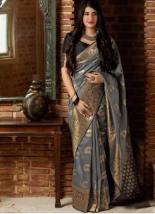 Grey Woven Art Silk Traditional Designer Saree