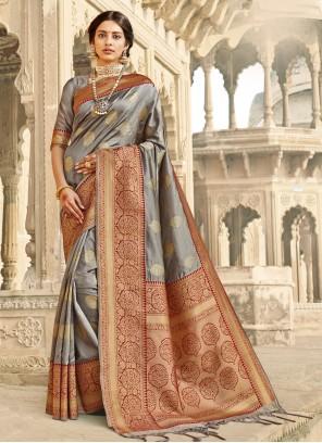 Grey Woven Banarasi Silk Designer Traditional Saree