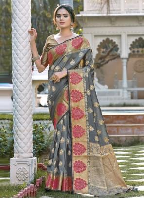 Grey Woven Festival Designer Traditional Saree