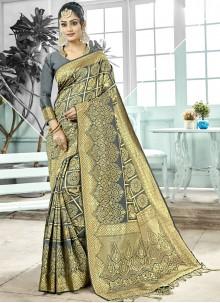 Grey Woven Wedding Designer Traditional Saree