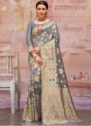 Grey Zari Cotton Designer Traditional Saree