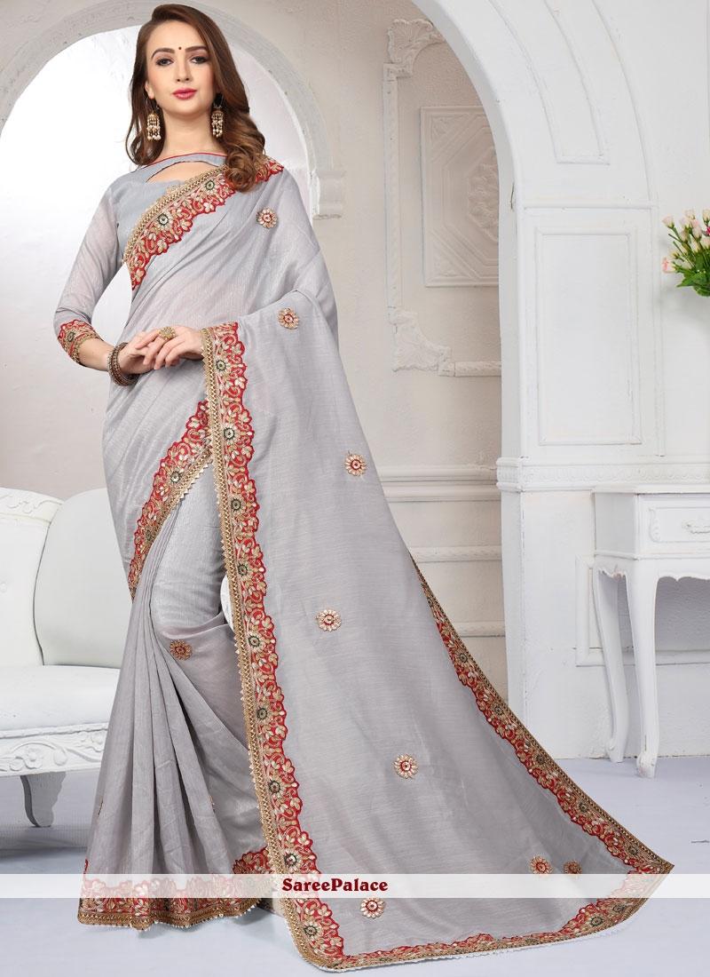 Grey Zari Trendy Saree