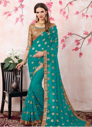 Gripping Blue Embroidered Work Georgette Bollywood Saree