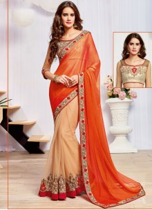Gripping Net Embroidered Work Designer Half N Half Saree