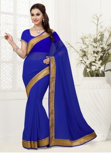 Gripping Blue Patch Border Work Designer Saree