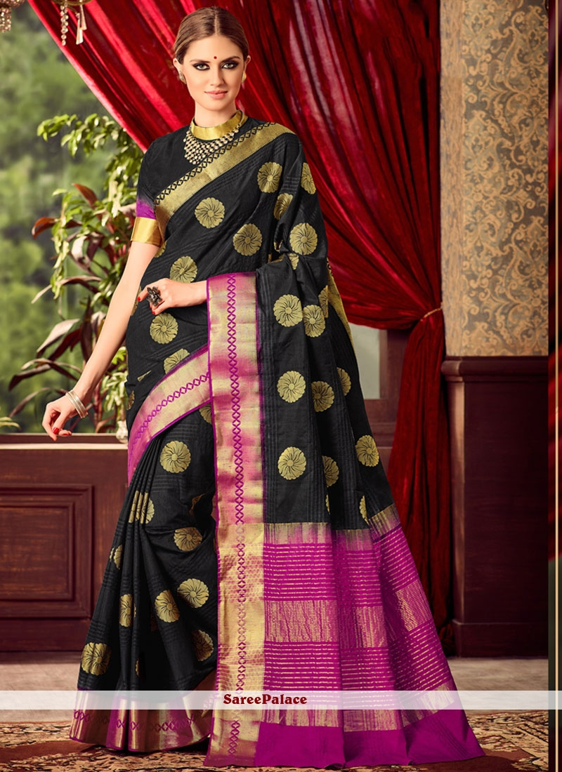 Black Art Raw Silk Saree