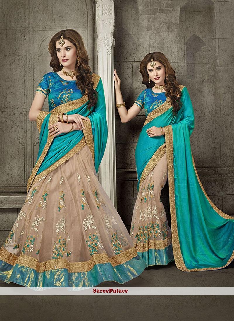 Groovy Beige and Blue Embroidered Work Net Designer Half N Half Saree