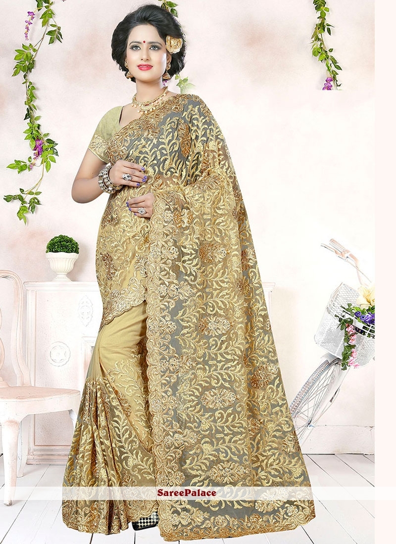 Beige Embroidery Work Net Saree
