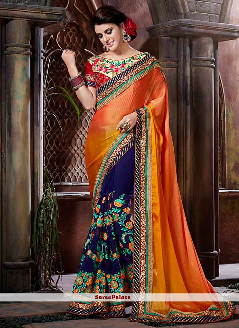 Groovy Embroidered Work Faux Georgette Designer Half N Half Saree