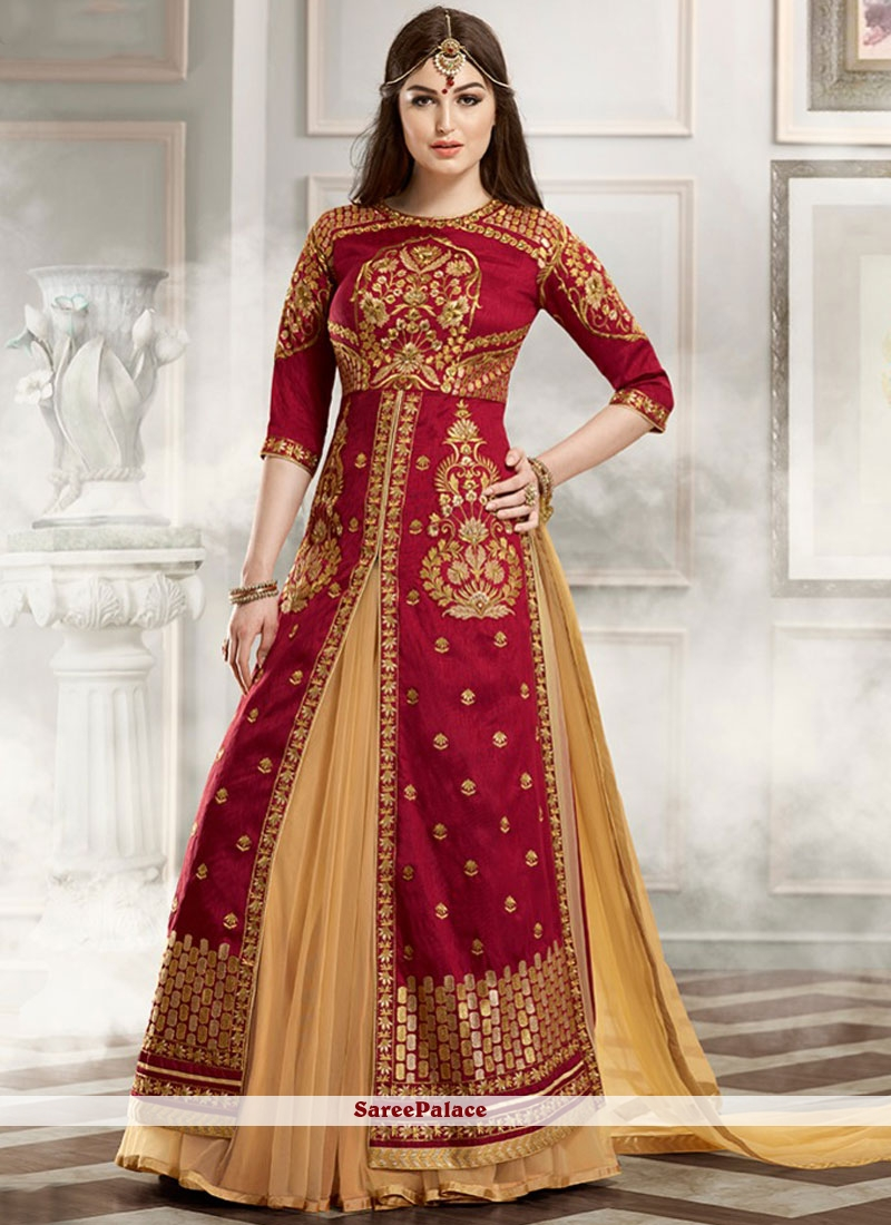 Groovy Faux Georgette Beige and Maroon Embroidered Work Lehenga Choli