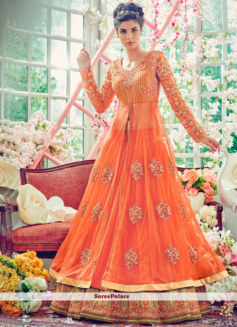 656c78551a Buy Groovy Orange Net Long Choli Lehenga Online