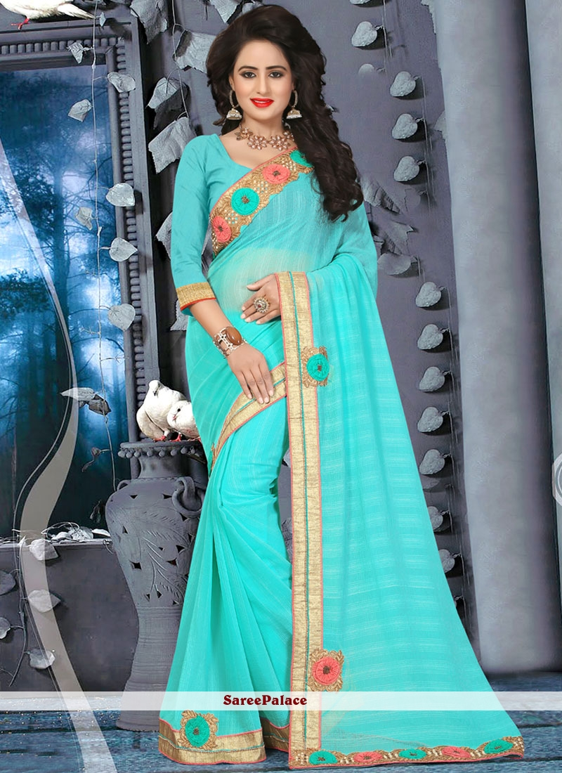 Groovy Turquoise Lace Work Faux Chiffon Saree
